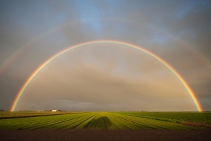 Dubbele regenboog boven de polders van Midden-Eierland op Texel